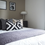 modern scandi bedroom with grey interior design