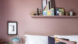 Pink bedroom feature wall