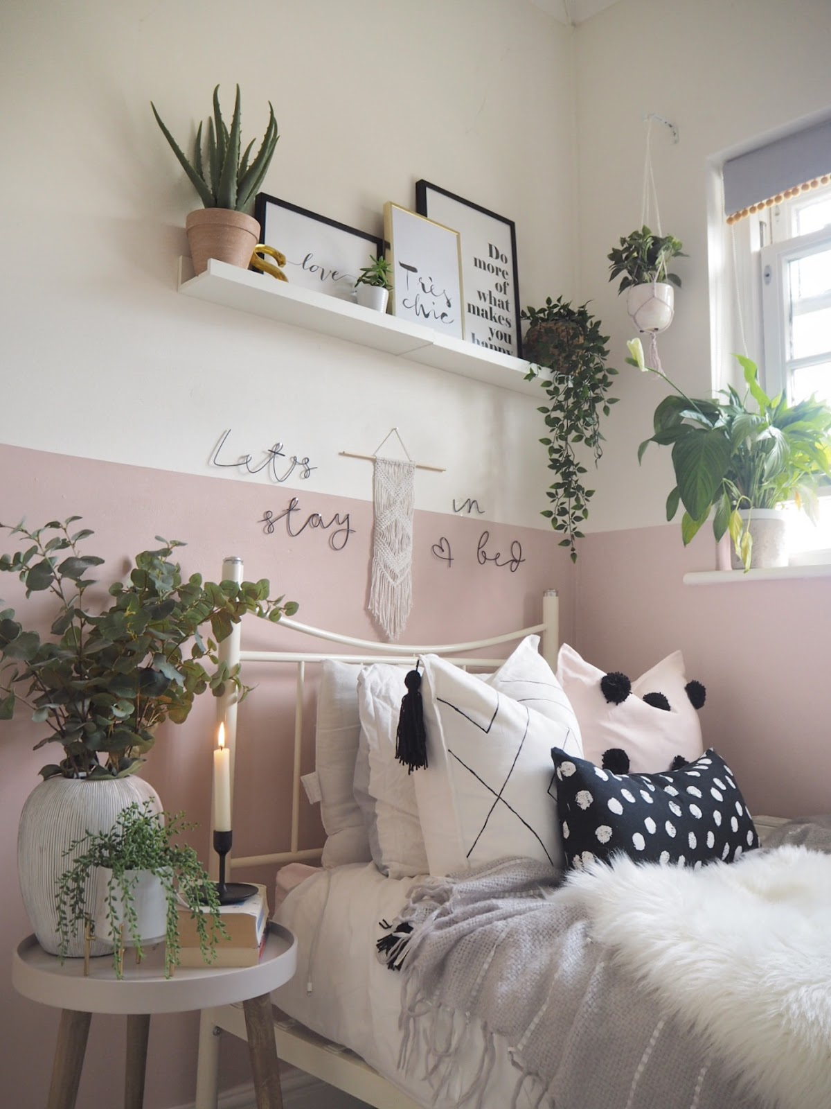 pink and monochrome bedroom