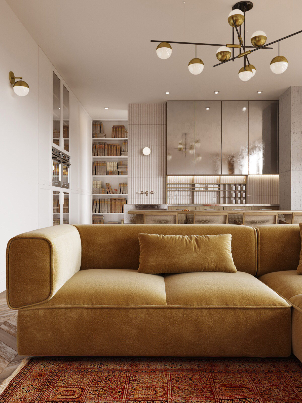 Tonal living room gold sofa modern